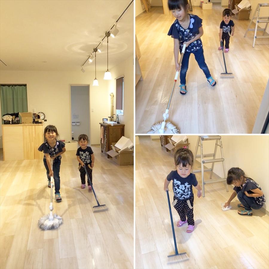 娘たちと床掃除
