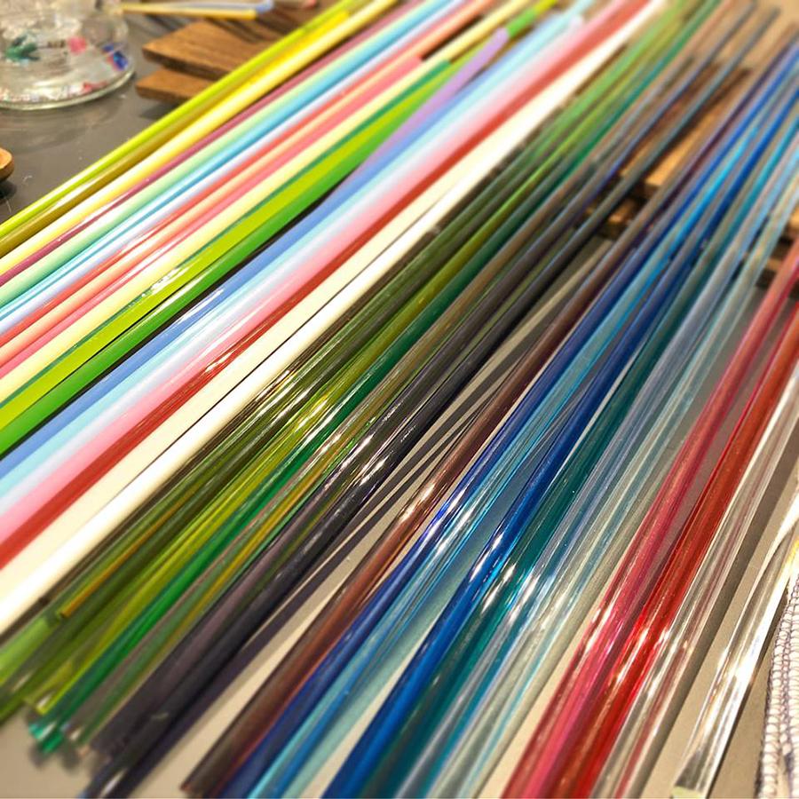 多色なガラス棒
